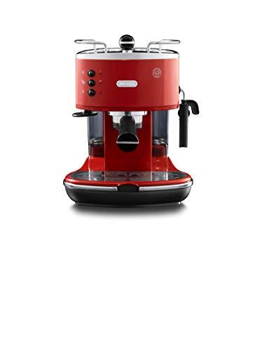 Machine à café expresso manuelle De'Longhi Icona Eco 311.R, café moulu ou pastilles E.S.E., 1100 W, 15 bars, rouge