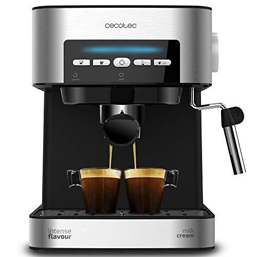 Machine à café Cecotec Power Espresso 20 Matic. Capacité 1,5 L, 20 bar, interface intuitive, double sortie, vaporisateur, acier inoxydable, chauffe-tasses, 850 W