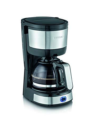 Machine à café Severin KA 4808, jusqu'à 4 tasses, filtre permanent lavable, filtre oscillant, plaque chauffante, 750 W, acier inoxydable brossé / noir