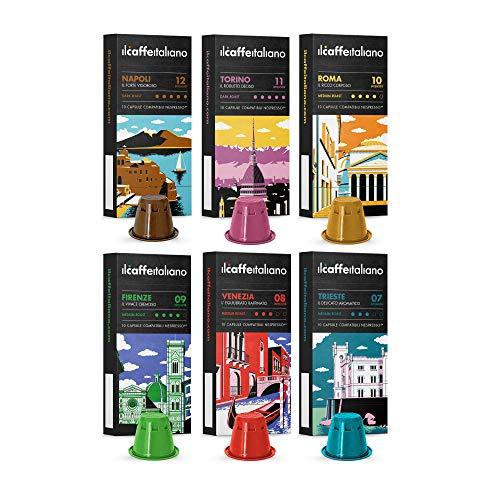 Café italien - Capsules compatibles Nespresso 120 - Kit de dégustation Tour d'Italie avec différentes intensités - Frhome