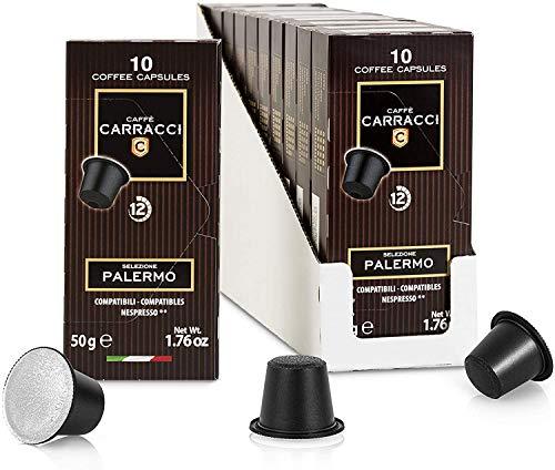 Café Carracci, Capsules compatibles Nespresso, Palerme, 10 boîtes de 10 capsules (100 capsules au total)