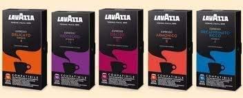 Lavazza Coffee MIX de 100 capsules compatibles LAVAZZA NESPRESSO - Mélanges: Harmonieux (20pcs), Délicat (20pcs), Vigoroso (20pcs), Deciso (20pcs), Décaféiné (20pcs).