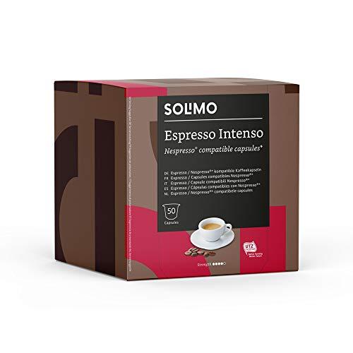 Marque Amazon - Solimo Espresso Intenso Capsules, Compatible Nespresso - 100 Capsules (2 x 50)