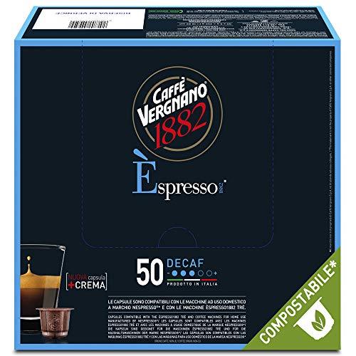 Caffè Vergnano 1882 Èspresso Capsules de café compostables compatibles Nespresso, décaféiné - Paquet de 50 capsules