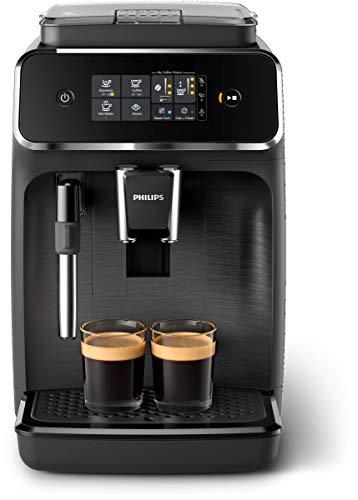 Machine à café automatique Philips Serie 2200 EP2220 / 10, 2 boissons, avec moulins en céramique, filtre AquaClean, Pannarello classique, 15 bar, 1500 W, 1,8 litre, noir satiné