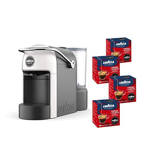 Lavazza A Modo Mio, Jolie Machine à Café Espresso Avec 64 Capsules Crema e Gusto Incluses, Machine À Capsules Pour Café À La Maison Comme Au Bar, 1250 W, 0,6 Litres, Couleur Blanche