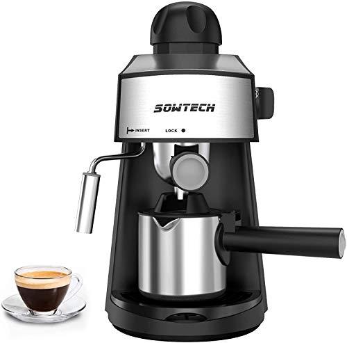 Machine à expresso et mousseur à lait SOWTECH Cafetière en acier inoxydable, expresso, cappuccino et latte machiato