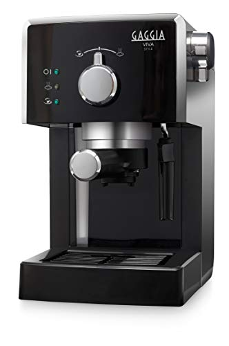 Gaggia RI8433 11 Machine à café expresso manuelle Viva Style, pour sol et dosettes, 15 bars, 1L, 1025W, noir