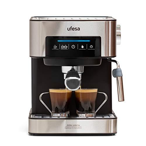 Ufesa Ce7255 Macchina per Caffè Espresso Due Funzioni, Macchina Da Caffè Cialde, Macchina Da Caffè Macinato, Touch Screen, Vaporizzatore Regolabile, Macchina Caffè 20 bar, Metallo, Nero