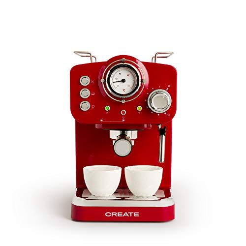 IKOHS THERA RETRO - Machine à café express pour expresso et cappuccino, 1100 W, 15 bar, vaporisateur réglable, capacité 1,25 l, café moulu et monodose, avec double sortie (Rouge)