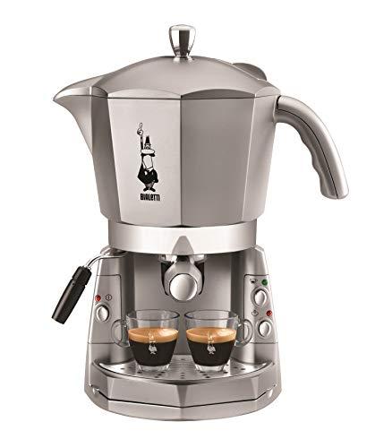 Bialetti Mokona Silver - Machine à café expresso, système ouvert (pour moulu, capsules et dosettes Bialetti), argent