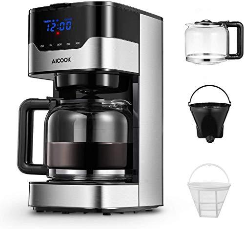 Machine à café Aicook, machine à café américaine programmable avec boutons tactiles à indicateur LED, intensité d'arôme réglable et contrôle du thé