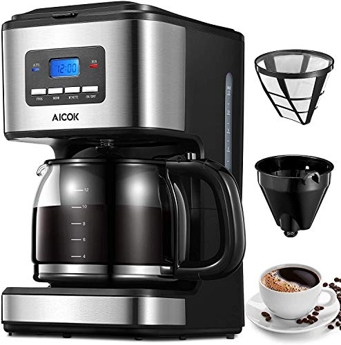 Machine à café Aicok, machine à café américaine de 1000 watts, cafetière américaine numérique automatique avec minuterie et affichage de 1,8 L, filtres à café américains pour thé et café, acier inoxydable