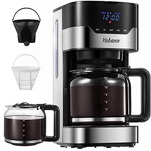 Machine à café, Machine à café américaine Yabano, Machine à café américaine programmable de 1,5 L avec minuterie, Boutons tactiles LED, Filtre permanent pour thé et café, 900W, Acier inoxydable