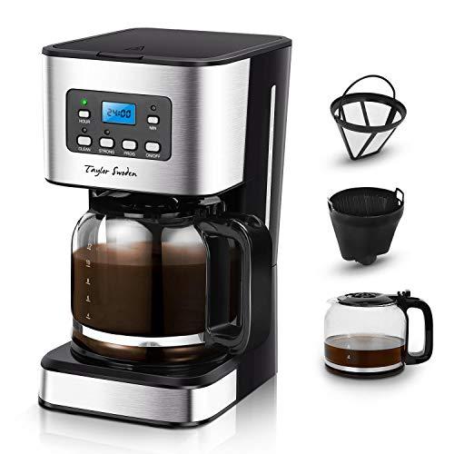 Taylor Swoden Darcy - Machine à café 950 W avec filtre réutilisable et plaque de base chaude, capacité 1,5 L, système goutte à goutte, minuterie, sans BPA, noir