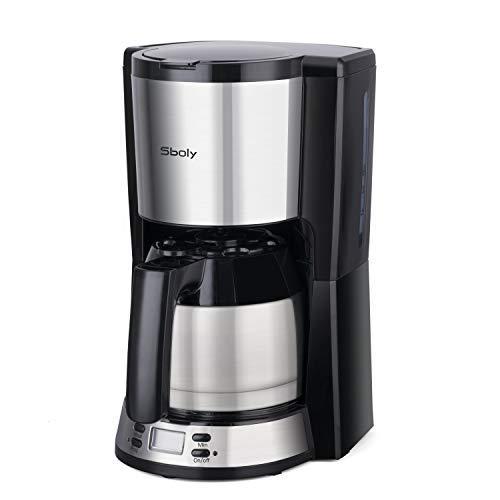 Machine à café Sboly avec cafetière thermique en acier inoxydable, machine à café programmable, grande capacité réglable de 2 à 8 tasses, fonction anti-goutte, compatible avec le café moulu