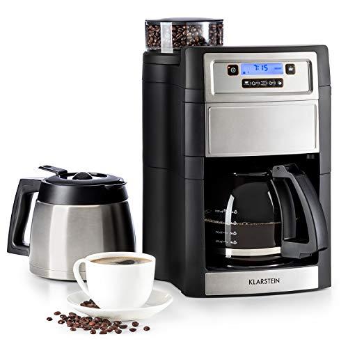 KLARSTEIN Aromatica II Duo - Machine à café avec moulin, Pichet en verre: 1,25 L, Thermos: 1,25 L, 1000 W, avec filtre, Récipient à grains 150 g, Minuterie 24 heures, Argent