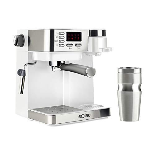 Solac CE4497 Multi Stillo 20 bar - Macchina per caffè combinata multifunzione 3 in 1: macchina caffè espresso+macchina caffè americano+cappuccino.Termo portatile 320ml.Inox.Extra Cream.Vaporizzatore