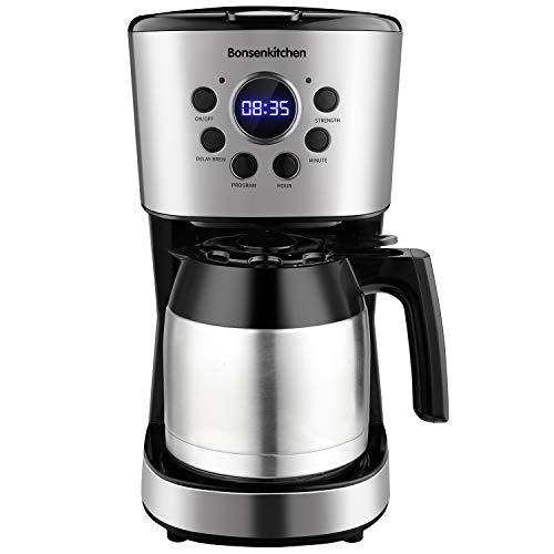 Macchina Caffe, Bonsenkitchen Macchina Caffe Americano, Programmabile Caffettiera con Timer, 1.5 L, Filtro Permanente per Tè e Caffe, Acciaio Inox , Funzione Antigoccia, Spegnimento Automatico