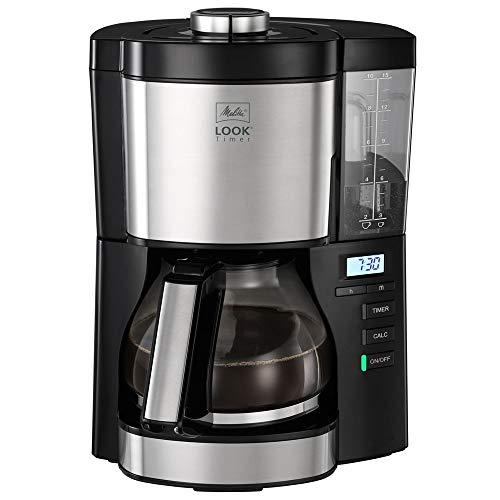Melitta Look V Timer 1025-08 Machine à café filtre avec minuterie et réservoir (noir), plastique, 1,25 litre