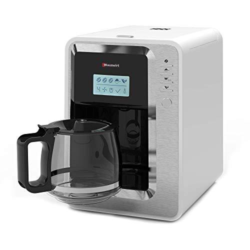 Hauswirt Macchina da caffè Americano e Tè, Macinacaffè Preinfusione, 3 Dimensioni di macinatura, Caffettiera 6 Tazze (massimo), Piastra Riscaldante, Filtro e Serbatoio lavabile,staccabile