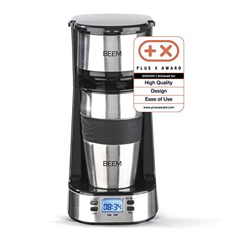 BEEM THERMO 2 GO Caffettiera con filtro per 1 tazza - Thermo   Include tazza da asporto da 0,4 l e filtro permanente   timer 24 ore, 750 Watt (Acciaio inossidabile)