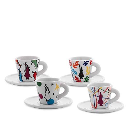Bialetti Y0TZ034 Set 4 tasses Espresso Arte (avec soucoupes), Porcelaine