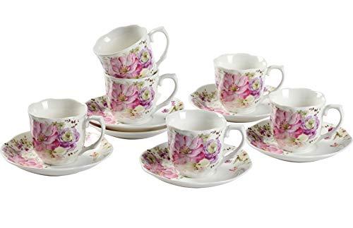 Service expresso tasses à café en particulier - tasses en porcelaine 80 ml belle décalcomanie Vintage fleurs ensemble 6 tasses à café 12 unités