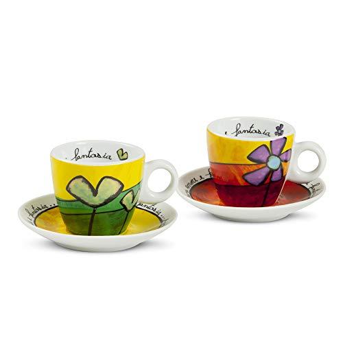 Ensemble de tasses à café Egan PAF02 / 1V, porcelaine, vert / rouge, 4 unités