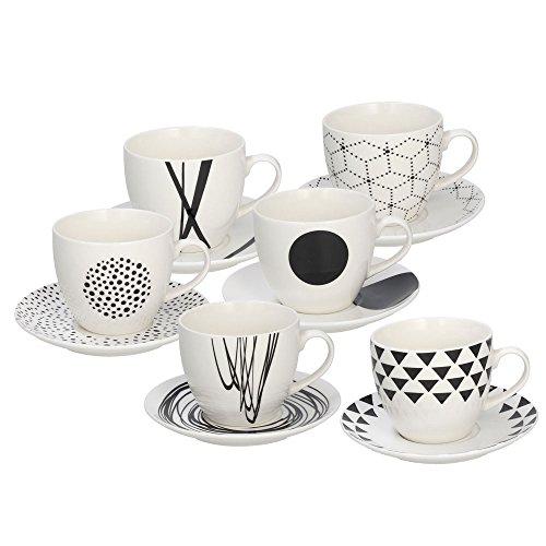 Tognana Graphic Set 6 tasses à café avec soucoupe coordonnée, 80 CC, hauteur 6 cm, New Bone China, blanc / noir