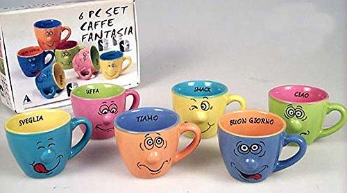 Idée cuisine: Lot de 6 tasses à café colorées humoristiques décorées de grimace et message