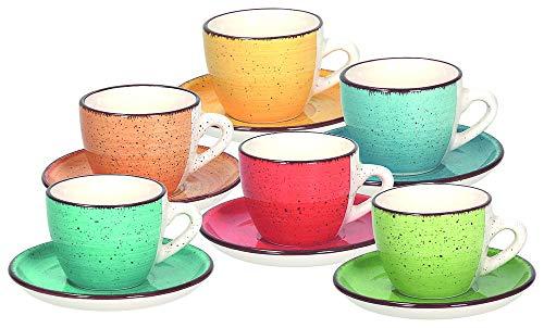 Tognana LS18534M043 Set 6 tasses à café avec assiette cc90 Art & Pepper, Grès