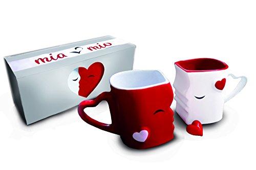 Mia Mio - Ensemble de tasse à café / Kiss Set tasses en céramique (rouge)
