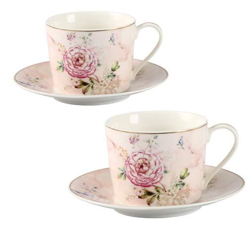 Tasses en porcelaine fine GuangYang, tasse à thé et soucoupe florales pivoine, lot de 2, 220 ml, coffret cadeau café