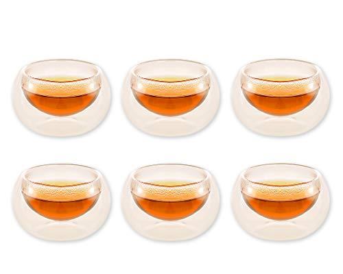 Tasse à expresso DSstyles, tasse en verre isolé à double paroi 50 ml, lot de 6