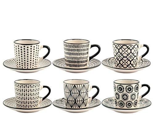 H&H Vhera Set 6 tasses à café avec soucoupe, grès, noir et blanc, 90 ml
