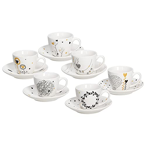 Tognana IR685345563 Lot de 6 tasses à café avec assiette, New Bone China