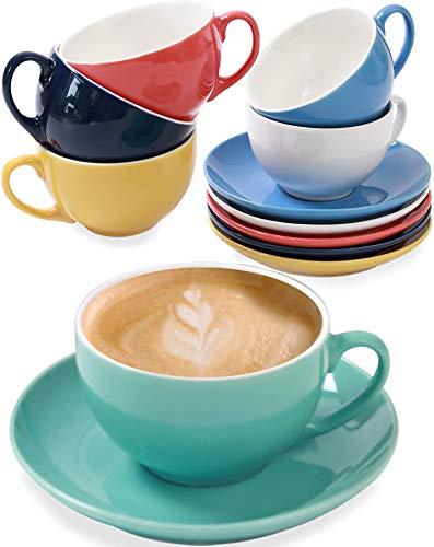 Ensemble de 6 tasses à cappuccino avec soucoupes - 180 ml - Céramique colorée - Avec boîte-cadeau - Va au lave-vaisselle