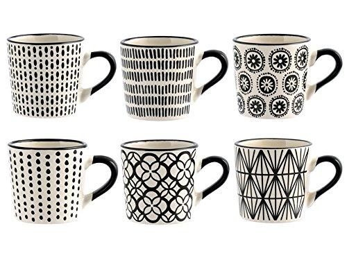 H&H Vhera Set 6 tasses à café, grès, blanc / noir, 90 ml, modèles variés