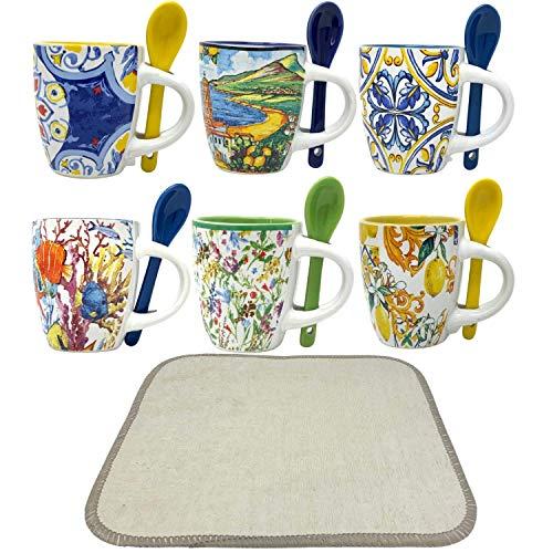 Ensemble de tasses à café 6 pièces, tasses à café, 1 tasses à café en PVC avec cuillère, 6 motifs différents, tasses à café particulières, 1 modèle mixte, porcelaine mixte