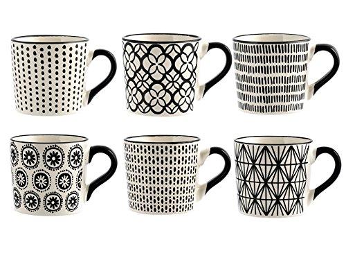H&H Vhera Set 6 tasses à thé, grès, blanc / noir, 220 ml