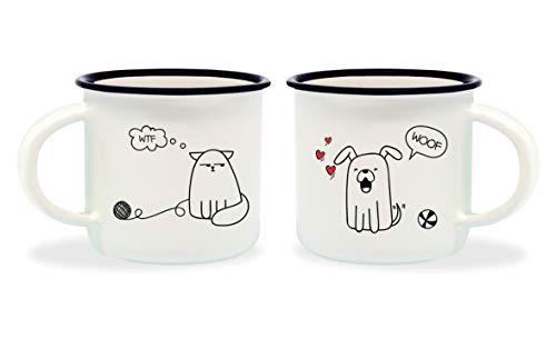 Cravates pour chien et chat Tasses à café, porcelaine osseuse, multicolore, 5,5x5,5x5 cm, 2 unités