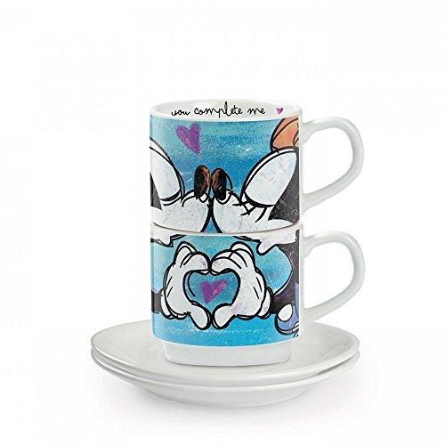 Ensemble de tasses à café Egan PWM02I / B, modèle Sweet Love, porcelaine, bleu, 4 unités