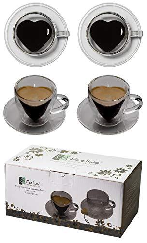 Tquiero 2 tasses à café en forme de coeur bicolore 2X 70 ml avec poignée et dessous de verre, modernes, élégantes et élégantes pour votre expresso très spécial - également parfait comme cadeau, par Feelino (R)