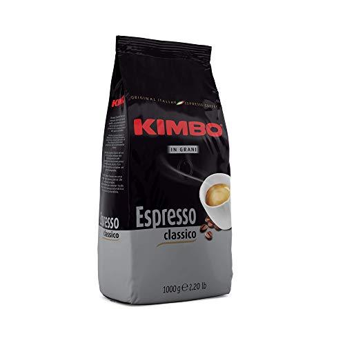 Grains de café entiers Kimbo Classic Espresso, torréfaction moyenne, sac de 1 kg