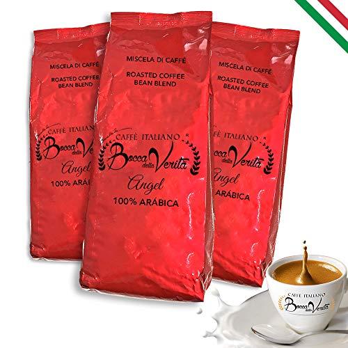 BOCCA DELLA VERITA - Grains de café italiens, arôme 100% ARABICA ANGEL, 3 sacs de 1 kg, café torréfié naturellement 100% fabriqué en Italie, certifié Rainforest et UTZ