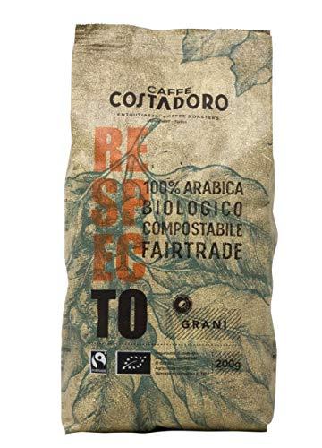 Café Caffe Costadoro Respecto, 100% Arabica, Biologique, Équitable, Compostable En Grains, Sachet De 200G - 200g