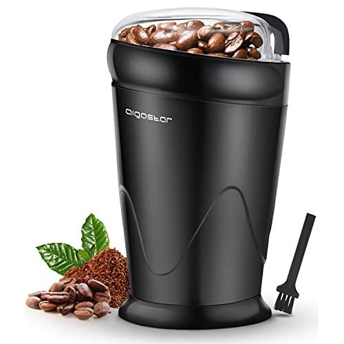 Aigostar Breath 30CFR - Moulin à café électrique à double contact avec lames en acier inoxydable, moulin pour grains de café, épices, noix et blé d'une capacité de 60g, 150 watts, sans BPA, noir.