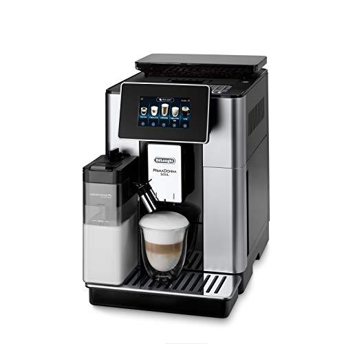 De Longhi ECAM612.55.SB Machine à café automatique PrimaDonna Soul, 1450 W, 2 tasses, système LatteCrema, technologie Bean Adapt, acier et plastique, argent, noir (exclusivité Amazon)