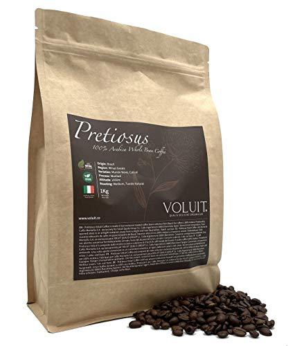 VOLUIT PRETIOSUS – Caffè in Grani, Selezione Esclusiva del Brasile | Caffè di Specialità in Grani 100% Arabica con Torrefazione Artigianale | Caffe in Grani Premium 1KG | Torrefazione Artigianale 1KG